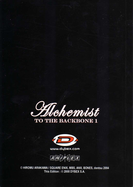 Dos de la couverture du livret d'information - Fullmetal Alchemist Box DVD collector 1 (Dybex - 2008)