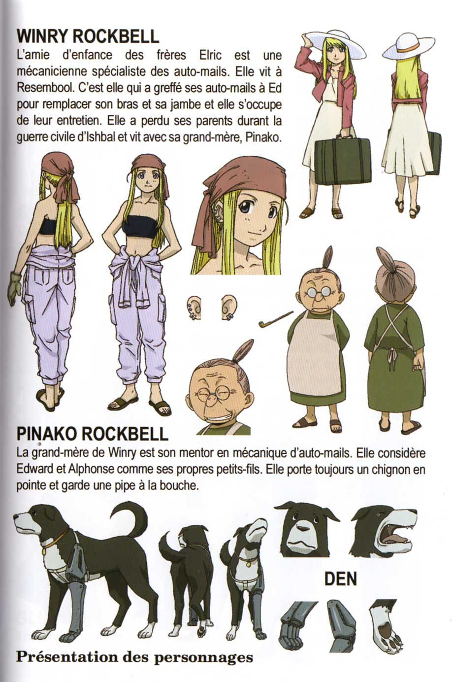 Model sheet extraits du livret d'information - Fullmetal Alchemist Box DVD collector 1 (Dybex - 2008)