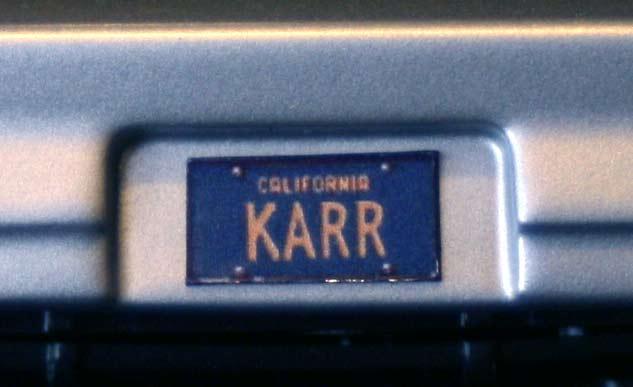 plaque d'immatriculation de KARR (ERTL : K.A.R.R. (K2000) Knight Rider - ech 1/18 (2005)