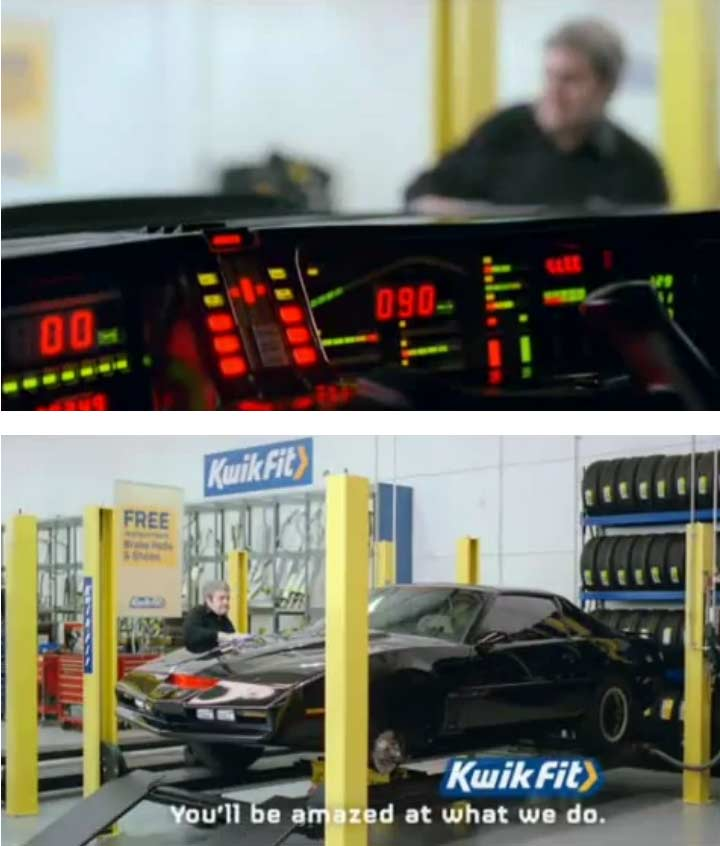 K.I.T.T. fait de la publicit pour Kwik Fit (K2000 - Knight Rider)