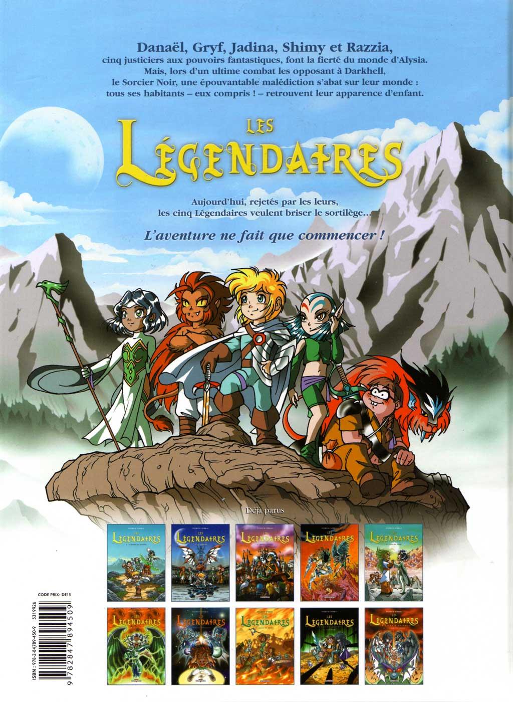 couverture dos des Légendaires Tome 1 : La Pierre de Jovénia