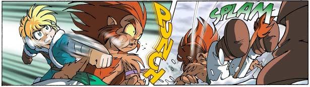 Gryf est torturé par des maux de têtes violents qui lui font perdre la tête. Il agresse même Jadina au point que Danaël doit le frapper pour l'aider à retrouver ses esprits.