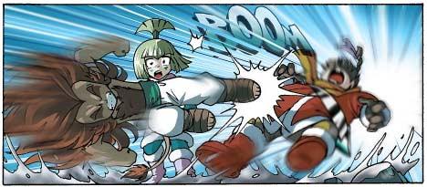 Gryf attaque Shimy et Razzia les neutralisant tous les deux, puis il s'en prend à Shun-Day qui est la dernière encore debout.