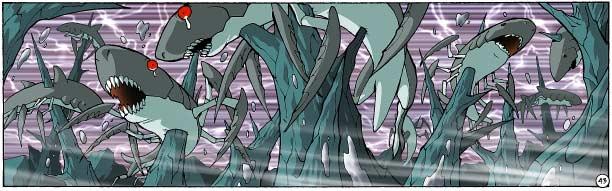 Grâce à la fusion élémentaire, Shimy fait jaillir des pics de pierre du sol qui transpercent la totalité de la meute de Milkshark.
