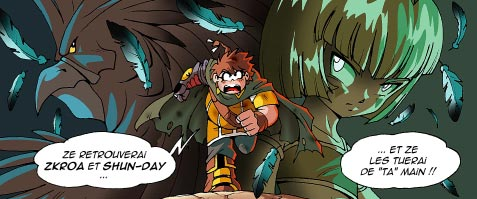 En échange de son nouveau bras, Razzia a dû promettre au démon Amy qu'il tuerait Skroa et Shun-Day.