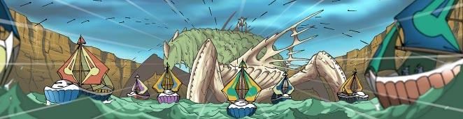 Les Elfes remplissent le cayon d'eau et attaquent ensuite avec leurs navires.