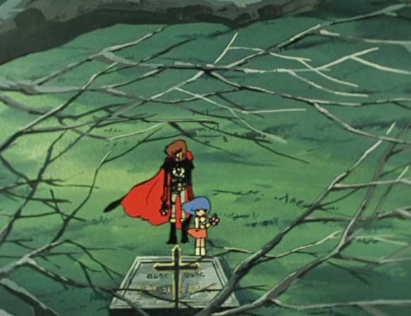 Albator et Stellie se recueillent sur la tombe de Toshirô le père de Stellie