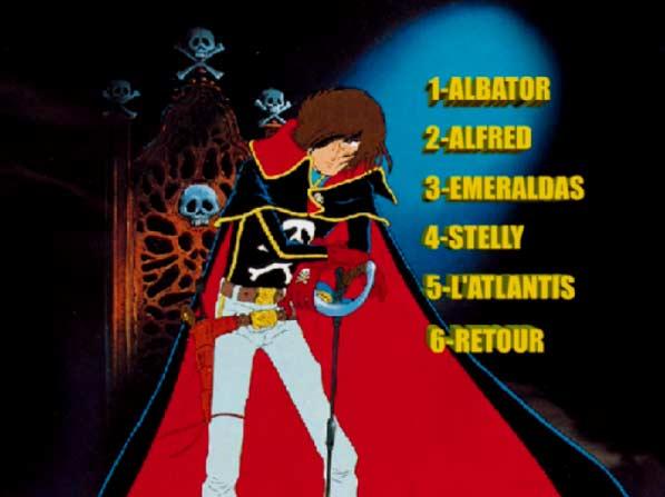 le menu propose les fiches de 5 personnages