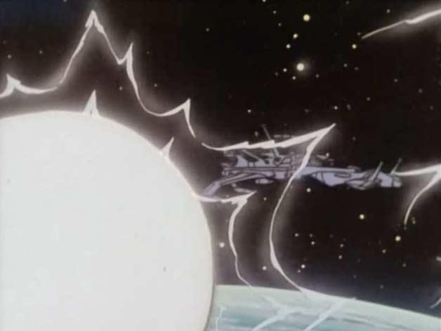 Suite à l'attaque, la sphère tente d'attirer à elle l'Atlantis pour qu'il s'écrase