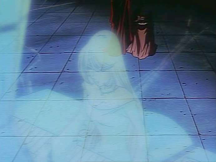 Miimé discute avec Toshirô et Emeraldas via un hologramme