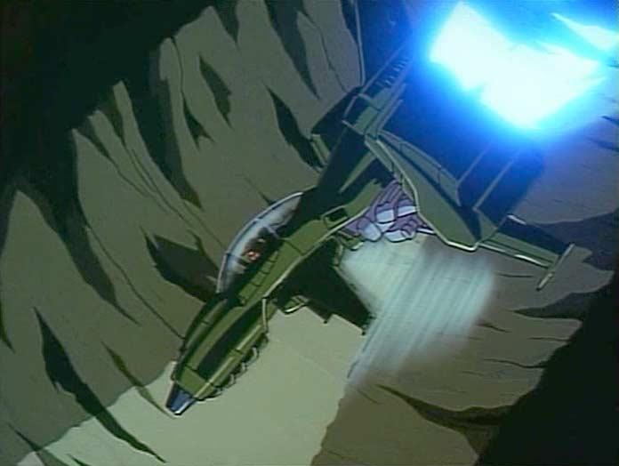 Toshirô plonge dans le cratère pour voir ce qu'il y a dans la planète
