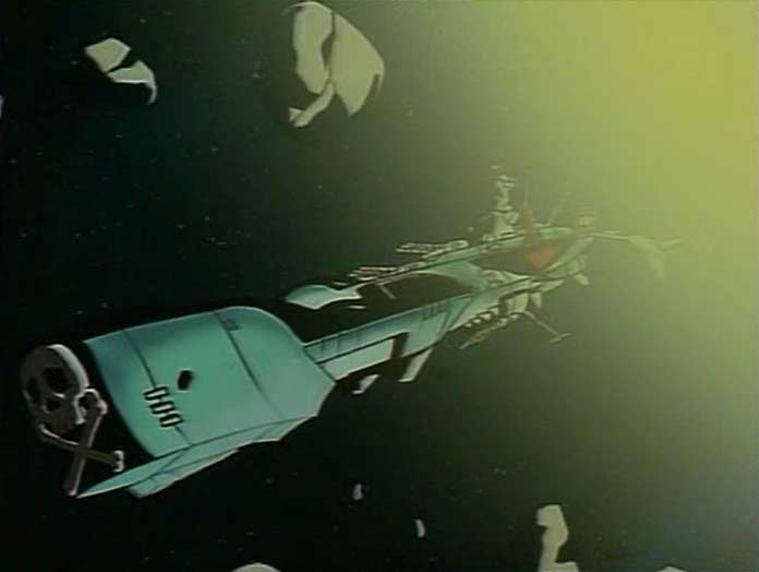 L'Arcadia évite les météorites projetées par l'explosion de la planète