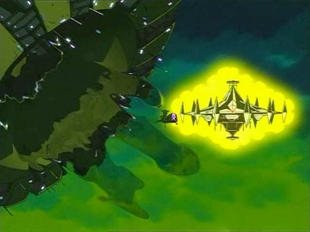 Le vaisseau d'Alberich et l'Arcadia sont Absorbés par le Dragon