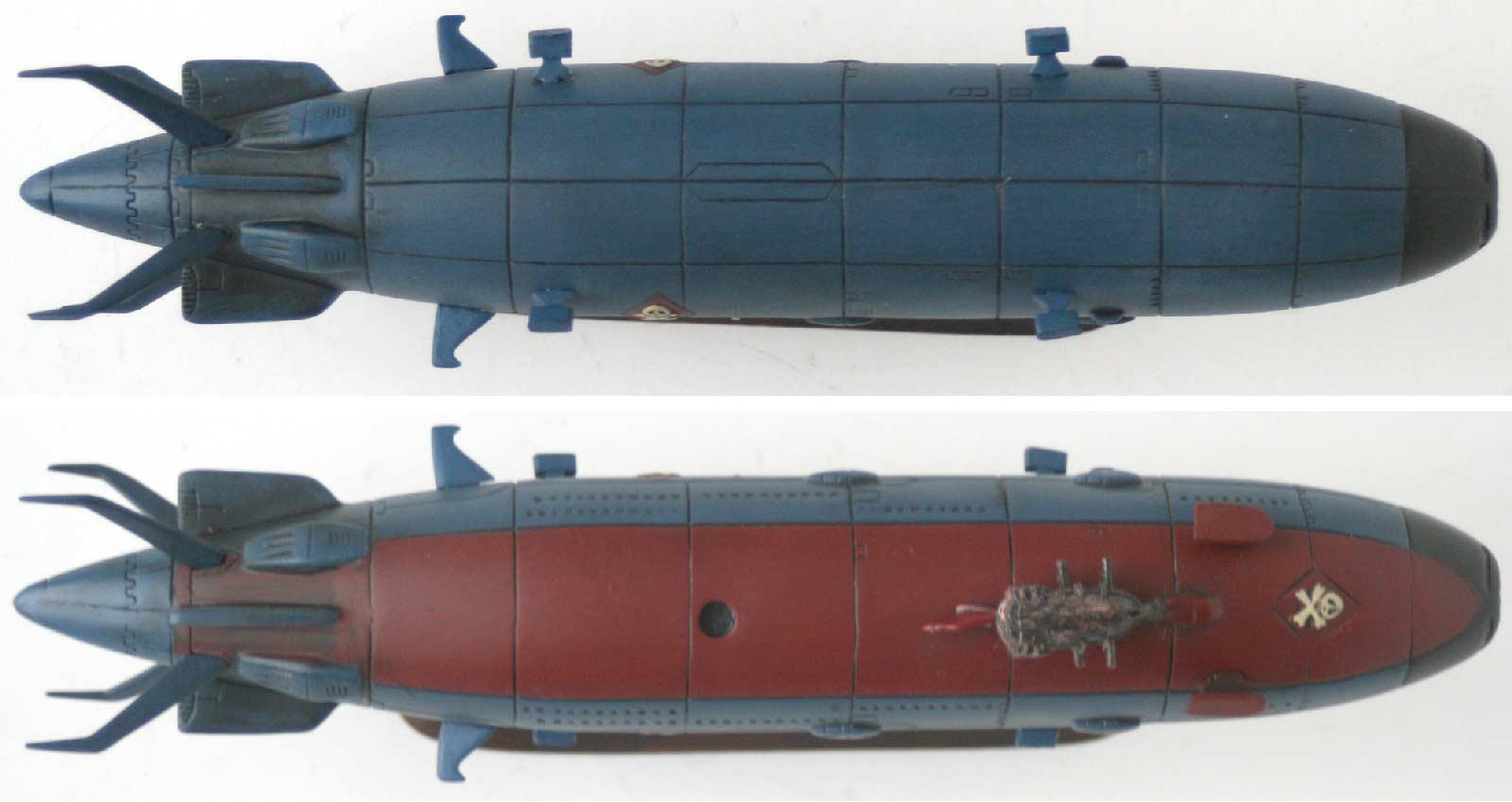 vue de dessus et de dessous du Queen Emeraldas - Leiji's Space ship collection (jouet)