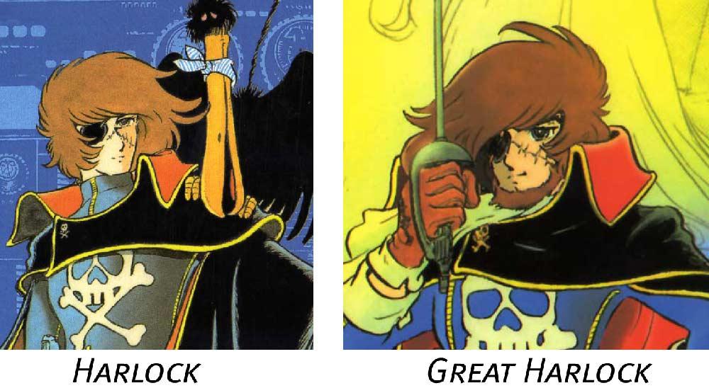 à part la barbe, le design de Harlock est le même que ce luide son père