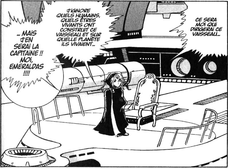 Aucune explication ne vient étayer les raisons qui font que Le Queen Emeraldas est destiné à devenir le vaisseau d'Emeraldas