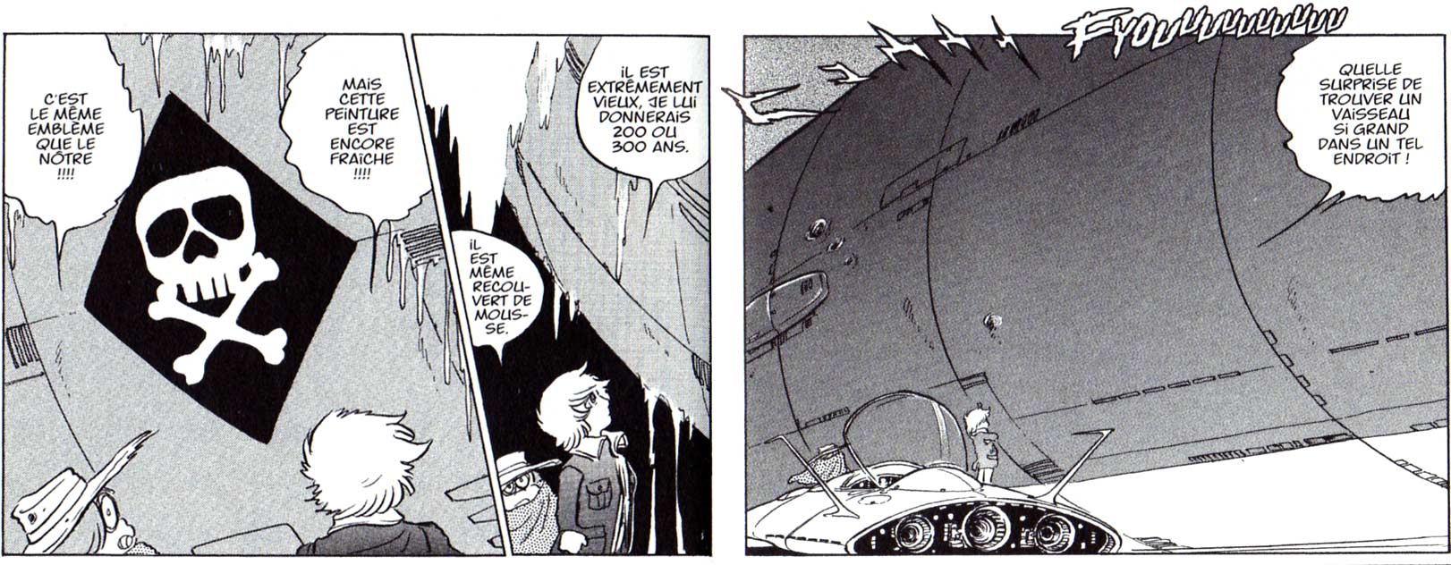Albator et Toshirô découvrent le Queen Emeraldas