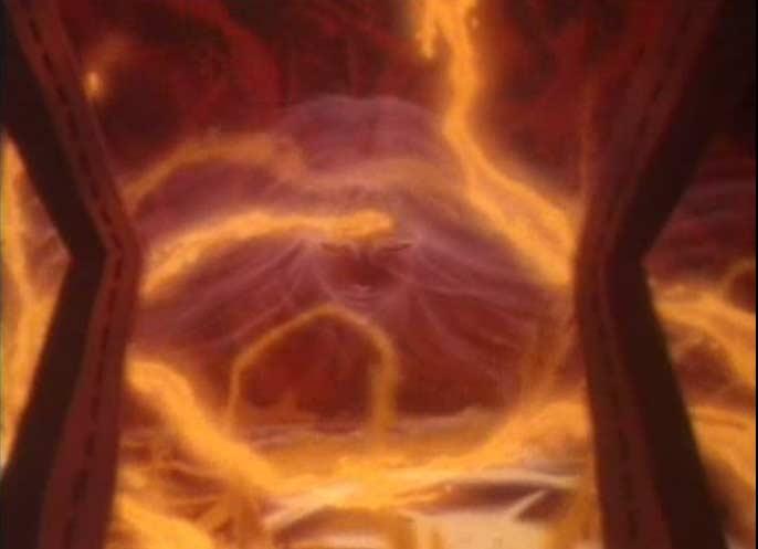 Dans la fournaise, Albator croit voir le visage de la sorcière