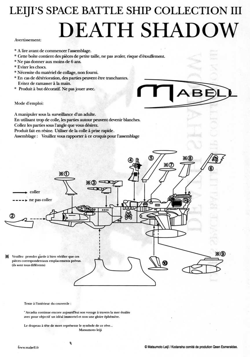 notice de montage du Death Shadow de Mabell dans la collection Leiji's Space ship (jouet)