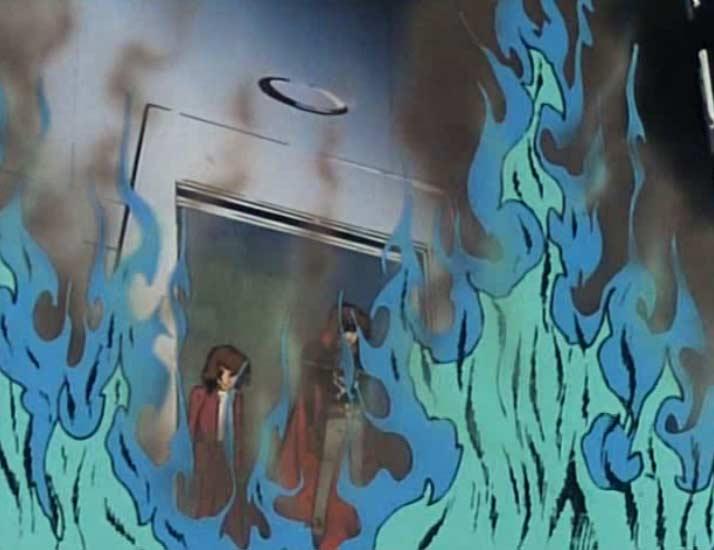 Il ne reste rien du corps de Murène à part quelques flammes bleues