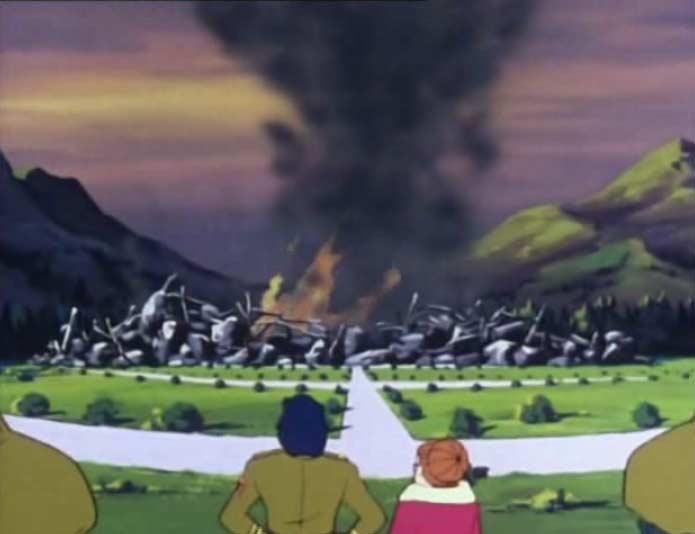 Lorsque le bâtiment s'écroule, Vilak croit qu'Albator est mort