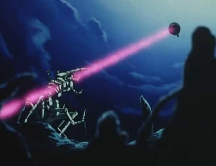 Le Queen Emeraldas transperce le cheval mécanique grâce à son laser frontal