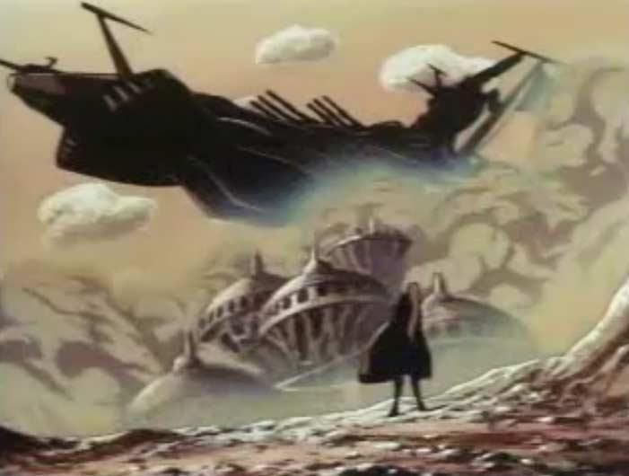 Le vaisseau est le Death Shadow 2 que l'on voit dans l'Anneau des Nibelungen et Cosmowarrio Zero (il a le même design que l'Atlantis d'Albator 78)