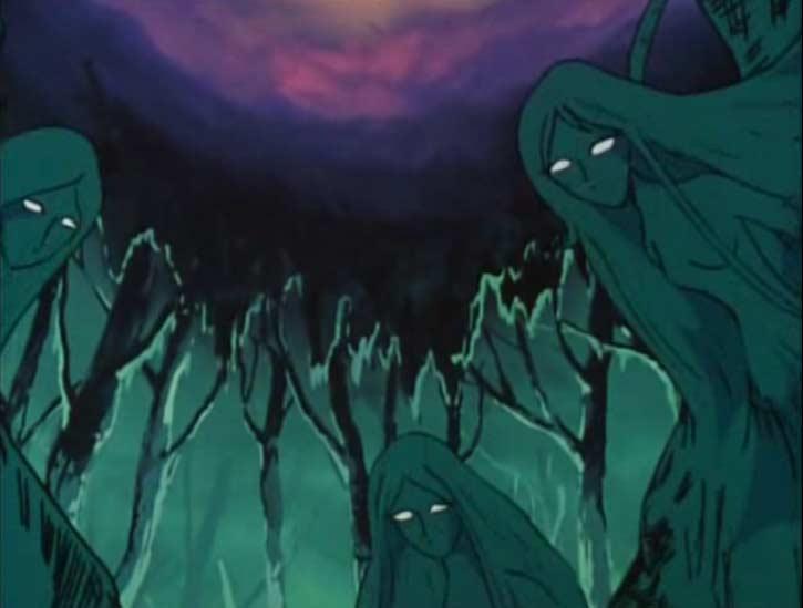 Des Sylvidres sortent de arbres de la forêt