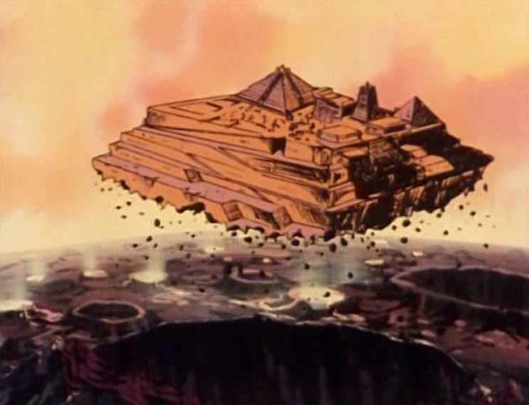 Le tremblement de terre est provoqué par le décollage de l'ancien temple en pierre.