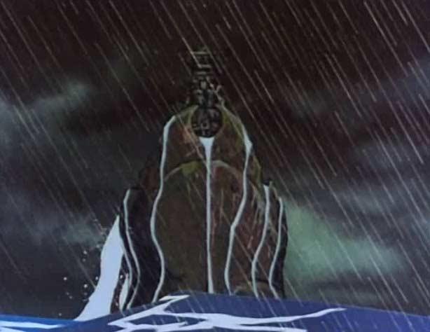 Un cuirassé japonais (le Yamato) sort de l'eau pour affronter l'Atlantis