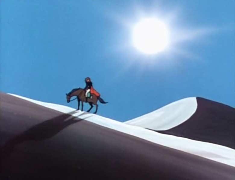 Albator traverse le désert à cheval
