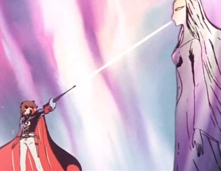Albator tente d'abattre la sylvidre, mais son rayon laser passe à travers elle