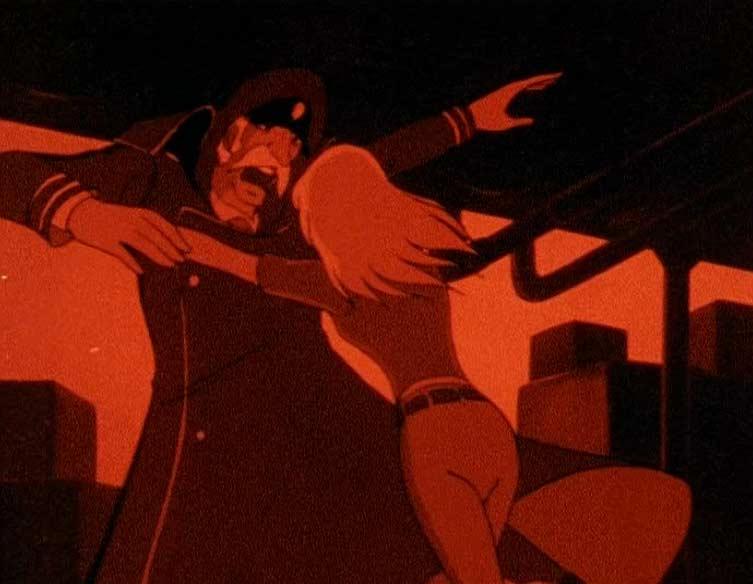 Ne pouvant plus supporter les insulte du Capitaine du spatio carg, Nausica l'agresse