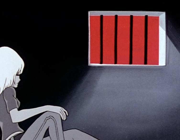 Après l'agression du Capitaine du spatiocarg, Nausiaca est enfermé dans une cellule du vaisseau