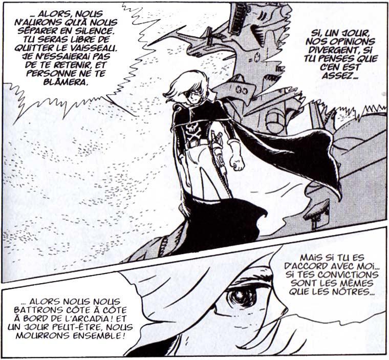 à la page 96, Albator promet à Rmais qu'il peut partir quand il veut sans donner d'explications et que son choix sera respecté