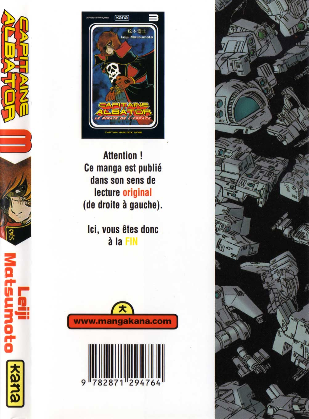 Tome 3 : Capitaine Albator (couverture dos)