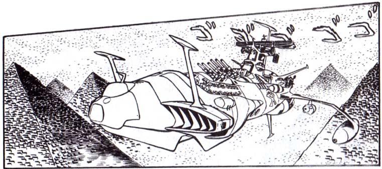 Le passage avec les 2000 pyramides sous-marines de Tokaga n'existe pas dans la série TV