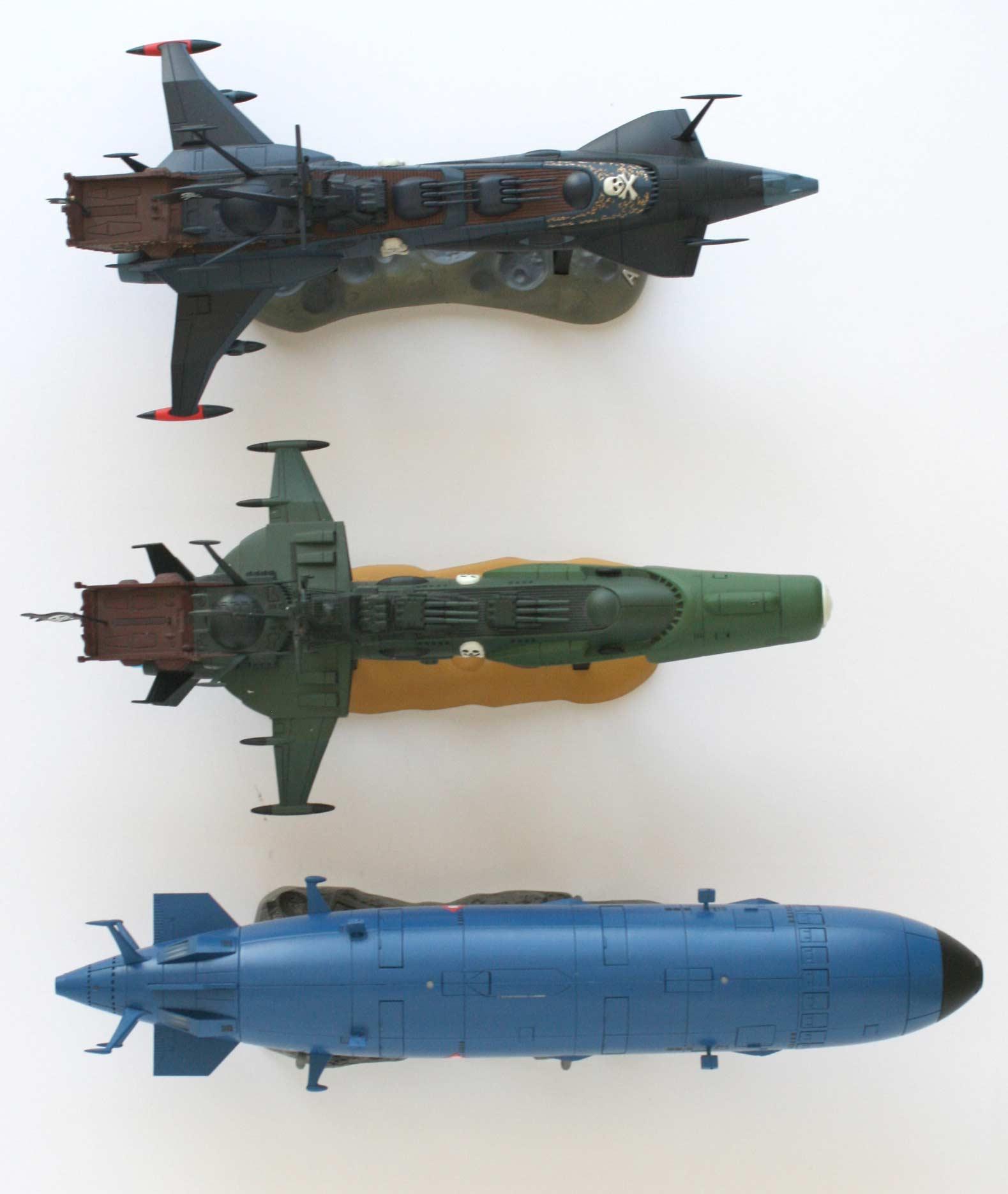 Comparaison de l'Arcadia, du Death Shadow et du Queen Emeraldas d'Aoshima (vue de dessus)