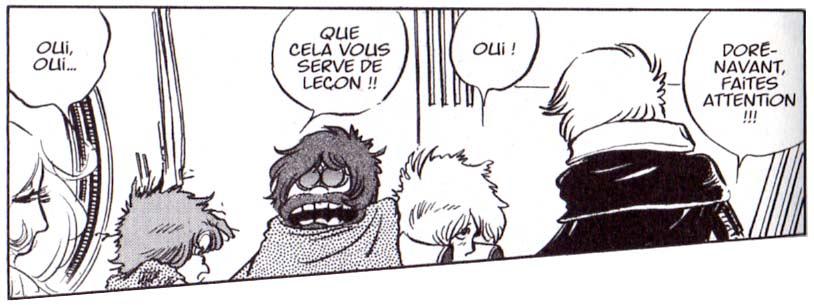 Toshirô et Albator (enfants) se font réprimander par leur père respectif suite à une expérience qui a mal tournée