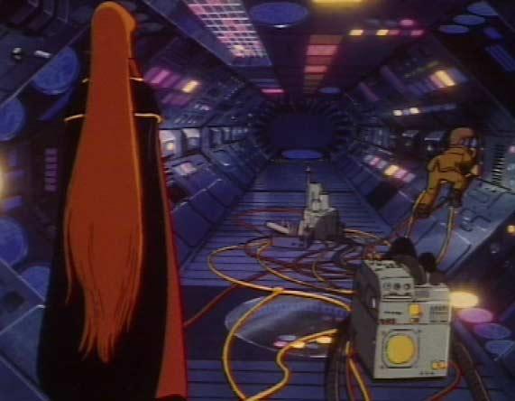 Toshirô a risqué sa vie pour venir réparr le Queen Emerladas et sauver ainsi celle qu'il aime. (Albator 84)