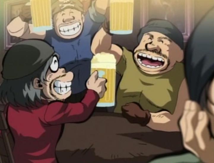 Leiji Matsumoto apparaît à gauche avec le pull rouge (Cosmowarrior Zero)