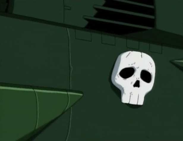 La seule différence visuelle entre le vrai et le faux Ombre de la mort et l'absence des deux os croisés sous le crâne latéral