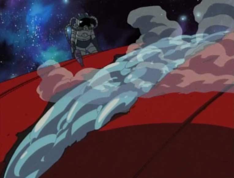 Ishikura rebouche la brèche avec une sorte de mousse expansée