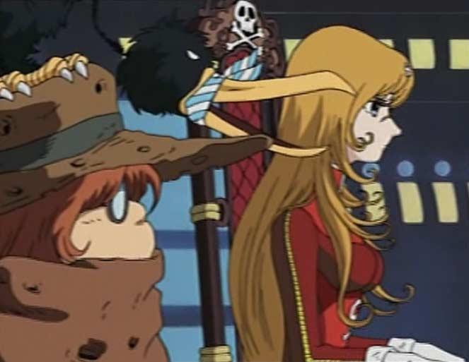 Toshirô et Emeraldas décide de tirer au laser sur le Hell Castel