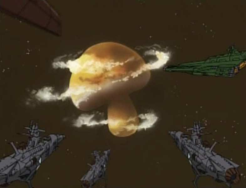 Les pirates arrivent sur la planète en forme de champignon où se trouve le laboratoire de Toshirô (Cosmowarrior Zero - Episode 15)