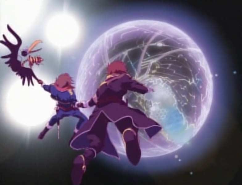 La projection astrale de Maetel montre à Warius et Albator une mystérieuse planète