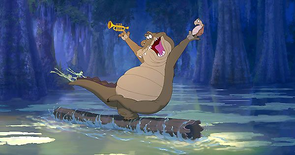 Louis est un alligator qui joue de la trompette