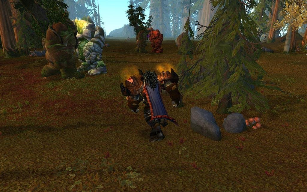 Screenshot of the day d'un tauren courant dans les Grisonees (world of warcraft)