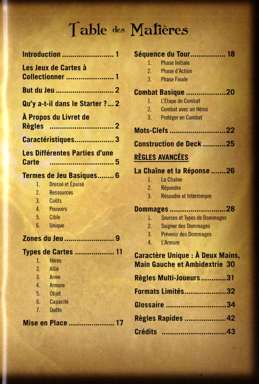 Table des matières de la notice du jeu de cartes