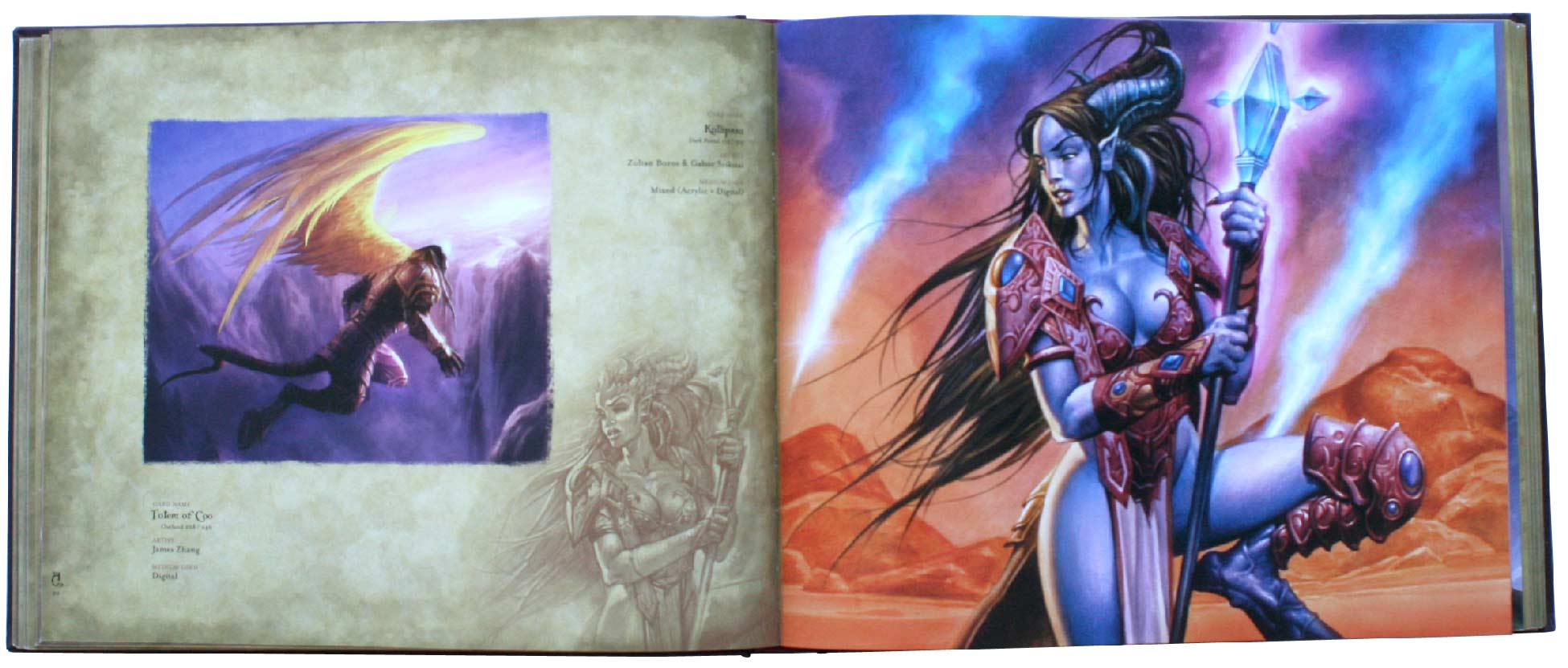 page 90 et 91 de l'art book : The Art of the Trading Card Game (World of Wacraft)